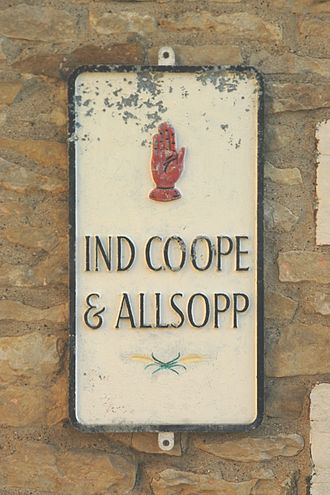 Allied Breweries - Ind Coope and Allsopps plaque outside The Plough Inn, Great Haseley, Oxfordshire