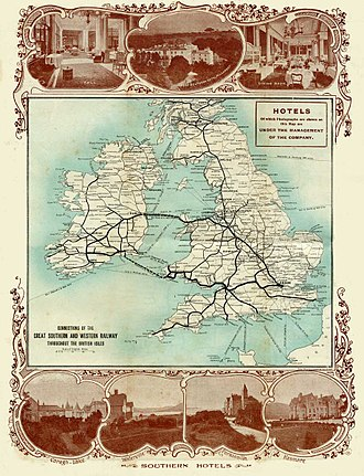 Great Southern and Western Railway - GSWR British Isles connections map, circa 1902