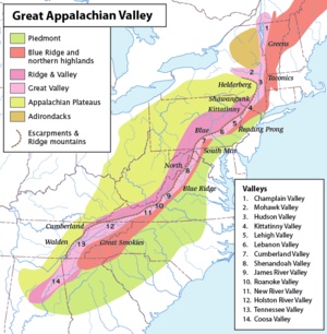 Great Appalachian Valley - A map of the Appalachian Mountains, highlighting the Great Appalachian Valley. The main mountain regions on either side are named, as are the various local valleys.