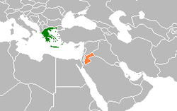 Map indicating locations of Greece and Jordan