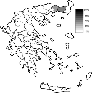 Muslim minority of Greece - Map of the Greek Prefectures according to the 1991 census with the minority highlighted.