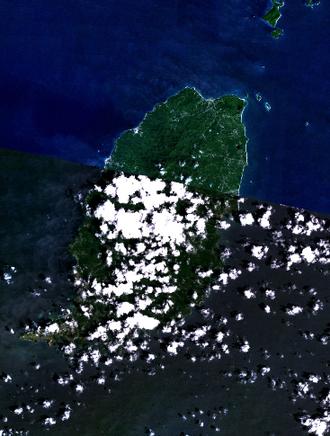 Geography of Grenada - Grenada - NASA NLT Landsat 7 (Visible Color) Satellite Image