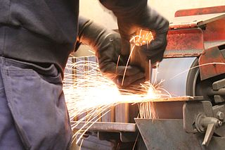 Grinding (abrasive cutting) abrasive machining process that uses a grinding wheel as the cutting tool