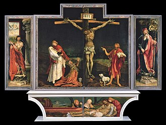 Hospital Brothers of St. Anthony - The Isenheim Altar, created by Matthias Grünewald in the early 16th century for the Antonine hospital and monastery in Isenheim. The work contains a number of references to Saint Anthony and St. Anthony's fire