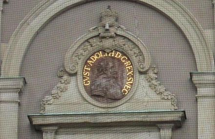 Image of King Gustav Adolph on a wall of Stockholm Palace Gustav II Adolph of Sweden outdoor relief 2013 Stockholm Palace.jpg