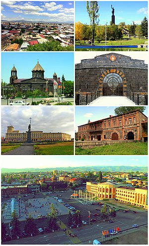 From top left: Gyumri skyline with Mount Aragats • Mother ArmeniaCathedral of the Holy Mother of God • Dzitoghtsyan MuseumIndependence Square • Sev Berd FortressVartanants Square and Gyumri City Hall