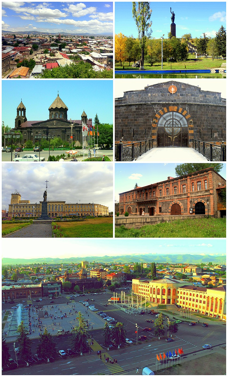 From top left: Gyumri skyline • Mother Armenia Cathedral of Gyumri • Sev Berd Fortress Independence Square • Dzitoghtsyan Museum Vartanants Square and Gyumri City Hall