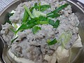 HK food steamed Minced mud carp 鯪魚 Dace fish meat 肉魚 Bean Curd Tufo product 豆腐製品 Chinese spring onion Jan-2016 dinner (2).JPG