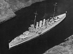 History of the Royal Australian Navy - An aerial view of the second HMAS ''Australia''  – a heavy cruiser –  passing through the Panama Canal in March 1935. Australia saw extensive combat in World War II.