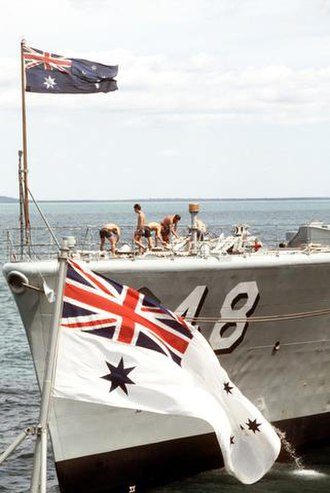 Australian White Ensign - The design of the national flag of Australia (top) was the basis of the Australian White Ensign (bottom)
