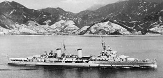 HMS Belfast (C35) - Belfast arriving at Kure, Japan, in May 1950.