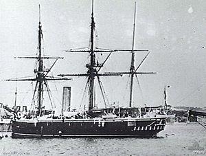 Comus-class corvette - Image: HMS Curacoa (1878) AWM 302169