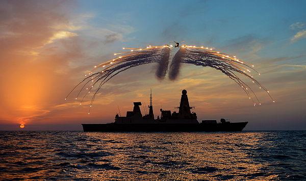 HMS Dragon's Lynx Helicopter Firing Flares MOD 45156167.jpg
