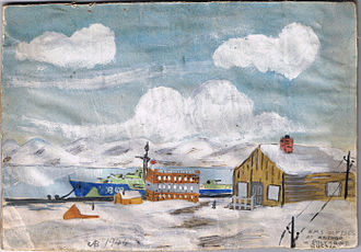 "Polyarny, Murmansk Oblast - Watercolor of HMS Ulysses at ""Polyarno"" (Polyarny), May 1944, by Arnold Barlow (crewmember). Part of the 1944 ""Arctic Convoys"" supplying Russia in World War II"