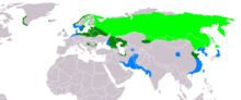 Light Green: nesting area Blue: wintering area Dark Green: all-year