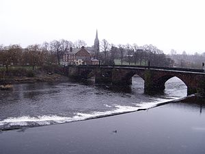 Handbridge - Handbridge, the weir, the Old Dee Bridge, and St. Mary's Church as seen from the Chester walls.