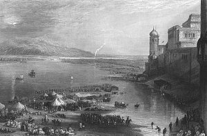 Kumbh Mela - Haridwar Kumbh Mela by the English painter J. M. W. Turner. Steel engraving, 1850s.