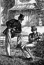 Gravure d'une édition anglaise: deux hommes, l'un penché vers l'autre assis sur un muret