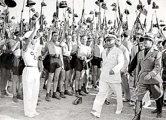 Italian Fascism - Benito Mussolini and Fascist Blackshirt youth in 1935
