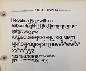 Swash (typography) - Helvetica Flair, a redesign of the sans-serif font Helvetica with swashes