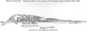 Henrietta Island - Sketch by Lt. Cmdr. George DeLong on 25 May 1881, depicting Henrietta Island, north of Siberia.