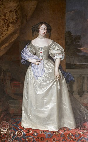 Henrietta of England - A posthumous painting by Peter Lely of Princess Henrietta commissioned by her brother King Charles II and presented by him to Exeter Guildhall, in the Council Chamber of which it still hangs today, in recognition of her birth in Bedford House, Exeter, the town house  of the Earl of Bedford who had given her mother refuge during the dangerous years before her father's execution in 1649