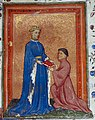 Henry, Prince of Wales, presenting this book to John Mowbray. Thomas Hoccleve, Regement of Princes, London, c. 1411-1413, Arundel 38, f. 37detail.jpg