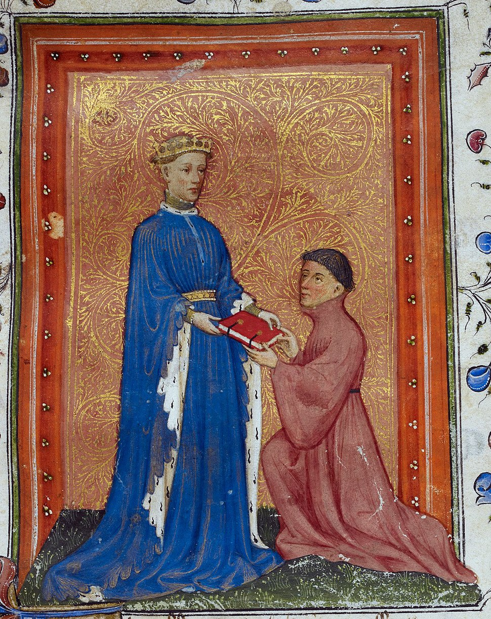Henry, Prince of Wales, presenting this book to John Mowbray. Thomas Hoccleve, Regement of Princes, London, c. 1411-1413, Arundel 38, f. 37detail
