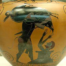 Eracle porta a euristeo il cinghiale di erimanto. vaso greco del 550 a