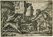 Hans Sebald Beham: Heraklo hvata Kerbera, 1545.