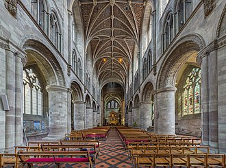 Hereford Cathedral - The nave, with Norman columns, viewed towards the choir
