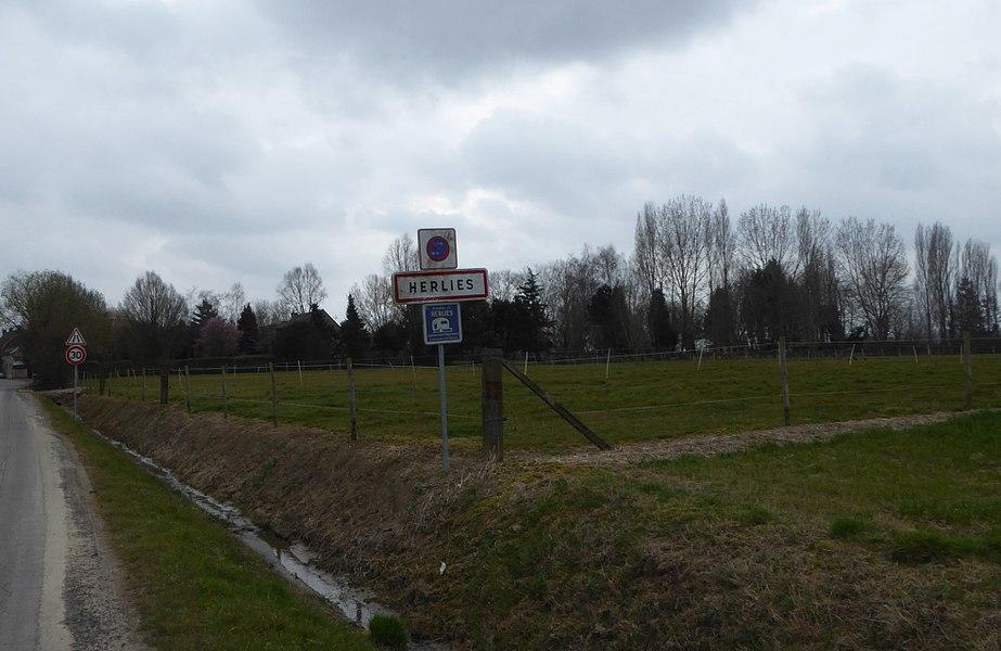 City limit Herlies Nord Nord-Pas-de-Calais-Picardie France.