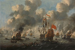 Het verbranden van de Engelse vloot voor Chatham - The Dutch burn down the English fleet before Chatham - June 20 1667 (Peter van de Velde).jpg