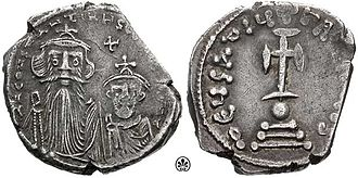Maximus the Confessor - A silver hexagramma showing Constans II with his son. Constans II supported Monothelitism, and had Maximus exiled for his refusal to agree to Monothelite teachings.