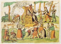 Darstellung des Hexensabbats aus der Chronik des Johann Jakob Wick