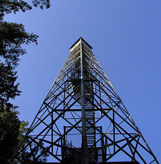 Hickory Ridge Fire Tower - Hickory Ridge Fire Tower, looking up the South-West corner