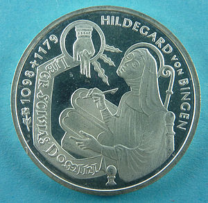 German 10 DM commemorative coin issued by the Federal Republic of Germany (1998) designed by Carl Vezerfi-Clemm on the 900th anniversary of Hildegard of Bingen's birth Hildegard VS.JPG