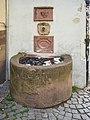 Historical fountain front of Au Vieux Strasbourg Restaurant Strasbourg downtown.jpg