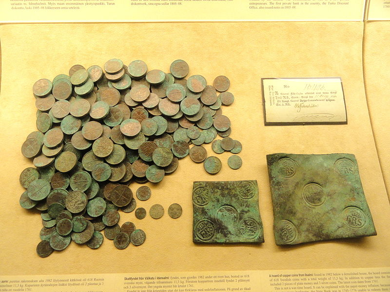 File:Hoard of Swedish copper coins, Iisalmi, latest coin from 1761 - National Museum of Finland - DSC04135.JPG
