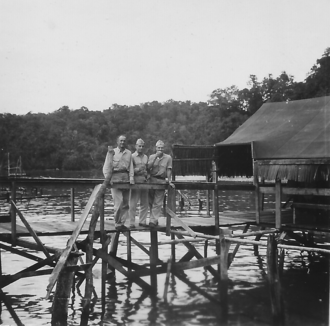 Military officers' club - This 1944 officers' club was a bar for off-duty officers of the VII Amphibious Force ships. Despite its primitive appearance, the breeze off Yos Sudarso Bay brought relief from the smells and insects ashore.