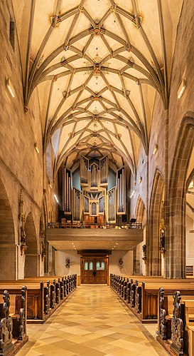 Interior of the Holy Cross church in Rottweil, Baden-Württemberg, Germany