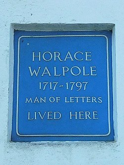 Photo of Horace Walpole blue plaque