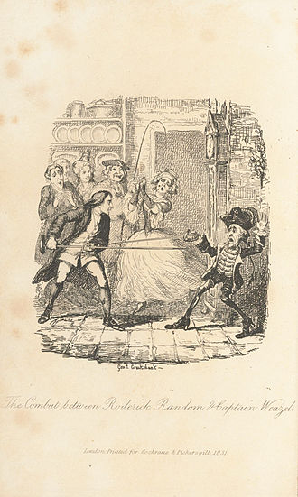 The Adventures of Roderick Random - Frontispiece for an 1831 edition by George Cruikshank