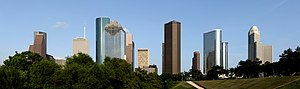 Skyline of downtown Houston, TX in the United ...