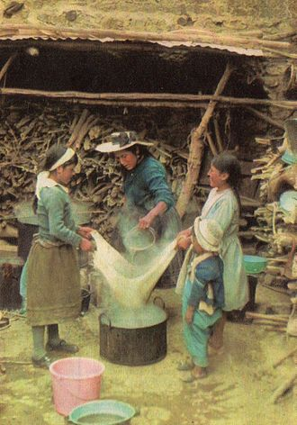 Women in brewing - Women making chicha, in the Andean village of Huacho sin Pescado (1980)