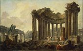 Hubert Robert - Landscape with the Ruins of the Round Temple, with a Statue of Venus and a Monument to Marcus Aurelius.jpg