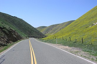 California State Route 58 - Westbound 58 in the Temblor Range, descending into the Carrizo Plain