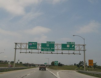 Interstate 44 in Missouri - I-44 west in Springfield, Missouri
