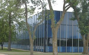 """IBM Rochester - Closer view of IBM Rochester, locally nicknamed the """"Big Blue Zoo""""."""