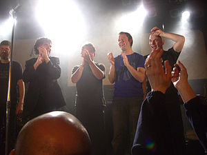 """IQ (band) - At The Classic Rock Society Awards Night, 16 January 2010. The band had won Band of the Year and Best Album for """"Frequency"""".  L-R: Holmes, Nicholls, Cook, Westworth, Jowitt"""